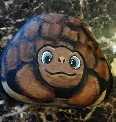 Tortoise Painted Rock, By Mama D's ReCreations