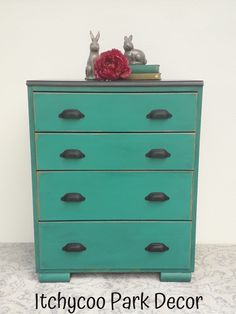 Annie Sloan Florence Chalk Paint finished with Black wax.