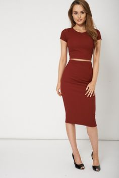 Crop Top and Slim Fitted Midi Skirt