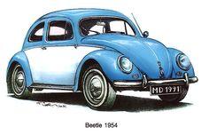 1954 Volkswagon Beetle by mrclassic Volkswagen New Beetle, Beetle Car, Beetle Drawing, Van Vw, Bus Art, Retro, Illustrator, Vw Vintage, Mobile Art