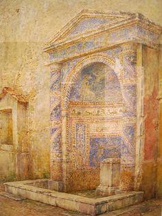 "https://flic.kr/p/gkpxxU   ""Fountain of House of Virnius Modestus at Pompeii"" - Water-colours on Pompeii by Luigi Bazzani (Bologna 1836-Rome 1927) - Naples Archaeological Museum - Exhibition until 6 January 2014             www.flickr.com/groups/napolinobilissima/discuss/721576353..."