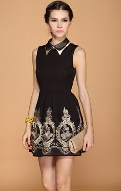 Black Lapel Embroidery Dress