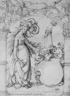 Hans Baldung Grien, Wappen des Georg von Wytolzhausen, mit Schildhalterin (Strassburg, ca. 1520-25, Kunstsammlungen der Veste Coburg).
