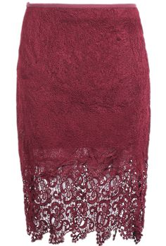 Wine Red Hollow Lace Bodycon Skirt - Sheinside.com