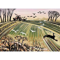 'Breaking Ground' by Printmaker Rob Barnes. Blank Art Cards By Rob Barnes.  www.greenpebble.co.uk