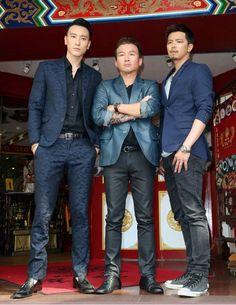 《角頭》媒體探班,(左起)圖為王陽明、孫鵬、小鬼。(陳俊吉攝)
