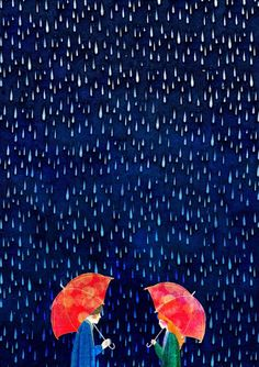 Two Red Umbrellas by Hajin Bae. Usually we color raindrops reversed.
