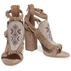 ASH Ottawa studded suede sandals (€120) via Polyvore featuring shoes, sandals, fringe sandals, suede fringe sandals, multi colored sandals, ankle strap high heel sandals y colorful sandals