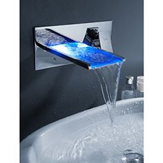 Sprinkle® Wall Mount Color Changing Led Waterfall Bathroom Sink Faucet Single Handle Widespread Water Flow Powered Lavatory Bath Shower Mixer Taps Vessel Sink Faucets Plumbing Fixtures with Hole Cover Plate