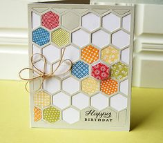 PTI Hexagon Cover Plate with Soft Stone cardstock. Left some of the Soft Stone hexagons in and added other stamped hexagons with the Happy Hexagons stamp set.