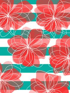 Camelia Coral and Turquoise by Allison Holdridge
