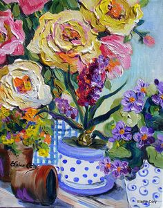 Still Life Painting 14 x 18 palette knife Fine Art by Elaine Cory