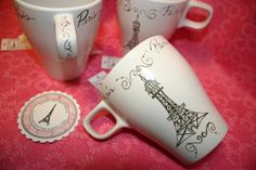 PARIS EIFFEL TOWER MUG | SALE - Paris Cafe Cups Mugs Set of 4 with Eiffel Tower in French I WANT