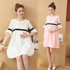 New Korean Summer Short Sleeve Loose Pregnant Women Clothes Maternity Mini Dress Maternity Mini Dresses, Maternity Fashion, Maternity Styles, Clothes For Pregnant Women, Mothers Dresses, Pregnancy Outfits, Korean Women, Special Occasion Dresses, Korean Fashion