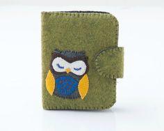 Owl Felt Wallet (mini, green)