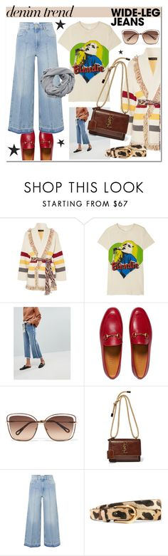 """""""WIDE LEGGED"""" by hellodollface ❤ liked on Polyvore featuring Alanui, MadeWorn, Current Air, Gucci, Chloé, Yves Saint Laurent, Étoile Isabel Marant, Anderson's Belts, MANGO and denimtrend"""