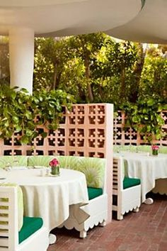 The Polo Lounge Patio, Beverly Hills...love the breeze brick dividers...