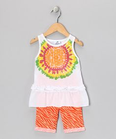 Take a look at this White & Orange Sunflower Tunic & Pants - Infant & Toddler by Gioberti on #zulily today!