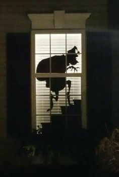 Cut out the shape of a grinch on cardboard, spraypaint it black and place it in the window, then close the shades/blinds. Cool!!