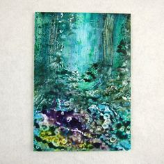 ACEO Acrylic Ink Bluebell Wood Fantasy by PaperChainsandBeads