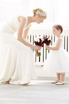 bride and flowergirl moment shot