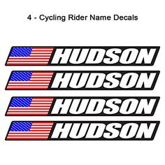 4 piece Custom Bicycle Frame Name USA Decal Sticker Set -...