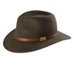 """Expertly shaped and blocked in Fall River, Massachusetts, at one of the last hat manufacturers left in America, this fine wool-felt hat offers timeless looks and fit. Moisture-wicking sweatband. Size reducer included to create a custom fit. Oil-tanned leather hatband. Wool felt hat in brown, gray. 2¾"""" brim tapers to 2½"""" on the sides. 4"""" crown. Pure wool felt. Brush clean. Made in USA. <br />Sizes: M(7-7⅛), L(7¼-7⅜), XL(7½-7⅝), XXL(7¾-7⅞)."""