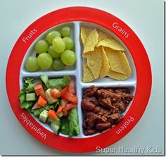 """Toddler food  portion - I want the child that eats all this! My toddler would just eat the """"grains"""" section!"""