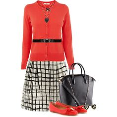 A fashion look from February 2013 featuring red top, cotton a line skirt and ballet shoes. Browse and shop related looks.