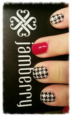 Jamberry nails! Black and White Houndstooth and Cardinal lacquer!annemariecp.jamberry.com
