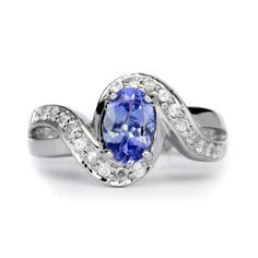7x5mm Natural Violet Blue Tanzanite Ring With White Zircon in 925 Silver #Multajewelry #SolitairewithAccents