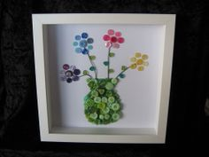HANDMADE MOTHERS DAY GIFT BUTTON ART PICTURE FLOWER VASE BOX FRAME PERSONALISED