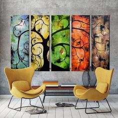 Abstract Art, Landscape tree art, Wall art, Five panel Art, Contemporary Abstract Palette Knife Landscape Curly Tree Painting Contemporary Abstract Art, Contemporary Landscape, Modern Wall Art, Abstract Landscape, Landscape Paintings, Abstract Canvas Art, Panel Art, Tree Art, Palette Knife