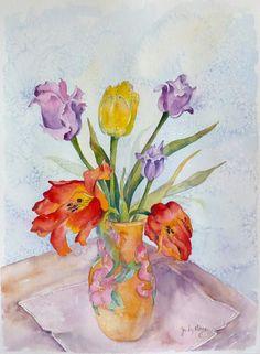 Tulips original watercolor painting by DakotaPrairieStudio on Etsy, $95.00
