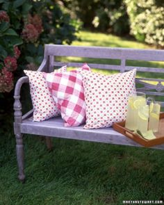 Those inexpensive vinyl tablecloths are good for more than just picnics -- they make great material for pillows that are easy to clean.