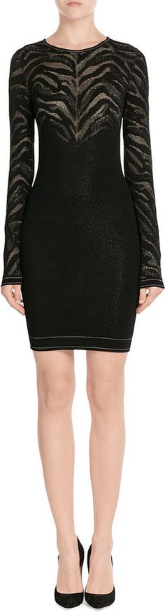£299 - Roberto Cavalli Stretch Black Dress with Metallic Thread #Ad    Details The sheer detailing on Roberto Cavalli's knit dress is designed to show a flash of skin, adding sultry cool to the long sleeves and sculpting fit. Note the metallic gold flecks through the top - a finish that adds glam shine to your look Black knit fabric with sheer inserts and metallic thread, round neckline Slim fit Pair with pumps and a linear clutch