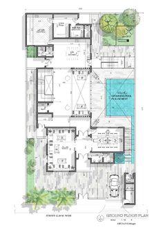 Architectural plane . Villa design Mini House Plans, Square House Plans, Family House Plans, New House Plans, House Floor Plans, Large Floor Plans, Modern Floor Plans, Home Design Floor Plans, Modern House Plans