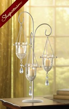 10 Hanging Crystal Drop Ivory Candelabra Wedding Centerpiece