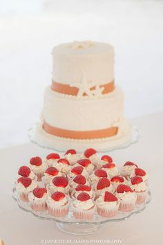 Wedding cake star fish decoration  strawberries cup cakes At Key Largo Lighthouse Beach Wedding Venue in the Florida Keys