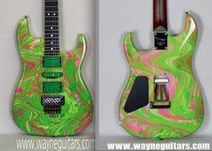 Check the amazing work of Wayne and Michael Charvel (Wayne Guitars) - Meanie Green (Steve Vai Swirl)