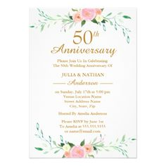 Pink Wildflower Floral 50th Wedding Anniversary Card - invitations custom unique diy personalize occasions