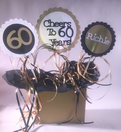 60th Birthday Table Decorations 3 Piece Sign Set With Personalized Text And Party Display Tray By