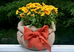 Swaddle potted mums in a square of burlap for a super simple harvest look for your front porch. Check out the DIY at The Home Depot's Garden Club.