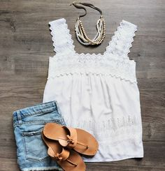 Cool and comfy style for hot summer days! Blousy white top pairs perfectly with just about anything and looks so great with our earthy layered bead and leather necklace! 1. Old Navy White Eyelet Trim Top. Size Small. $15. 2. Layered Necklace. $40 buy both for $50! Please comment sold to purchase. First to comment sold wins! DM with PayPal email and we will send invoice within 24 hrs. #rva local porch pick in Near West End. Can ship for $2.50 per item (excludes shoes- will calculates shipping…