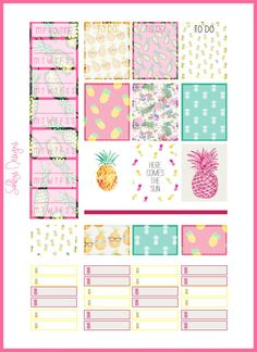 Pineapple Stickers set  Week for EC Life Planner by SahilysDesigns