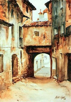Molinos - Terol | Rafael Pujals | Flickr Art Aquarelle, Watercolor Landscape Paintings, Watercolor Sketch, Watercolor Artists, Artist Painting, City Style Art, City Art, Building Painting, Painting Workshop