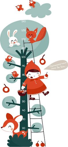Toise déco enfant - Petit chaperon rouge - Autocollants muraux par Océchou - Chambre enfants deco
