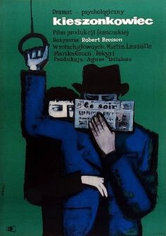"""man reading by Maciej Hibner (Polish, b. 1931), poster from 1962 for the film """"Pickpocket"""" by Robert Bresson"""