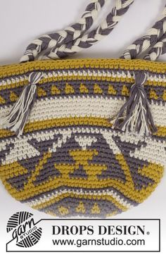 Crochet bag with color pattern in 2 strands DROPS Paris. Free pattern by DROPS Design.