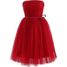 Chicwish Endless Red Tulle Bustier Mesh Prom Dress (€75) ❤ liked on Polyvore featuring dresses, red, cocktail party dress, holiday party dresses, cocktail prom dress, tulle dress and tulle bridesmaid dresses